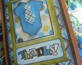Blue Plaid & Polka dot necktie onsie Baby Shower Thank You Cards -10