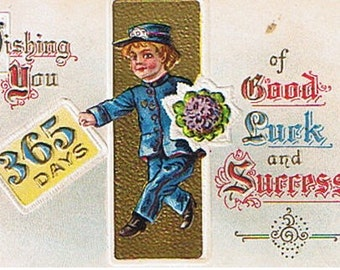 1911 New Year's Card - Telegram Delivery Boy