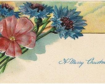 Merry Christmas Postcard  Vintage Raised Flowers
