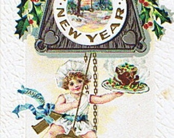 1911 Happy New Year Postcard With Baby and Cuckoo Clock