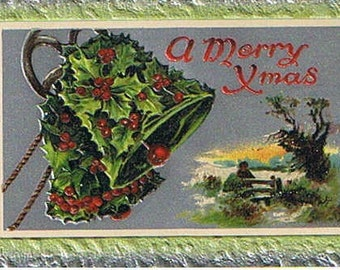Vintage Christmas Postcard Holly Berries and Bells Antique