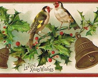 Antique Postcard - Loving Xmas Wishes Postcard 1909