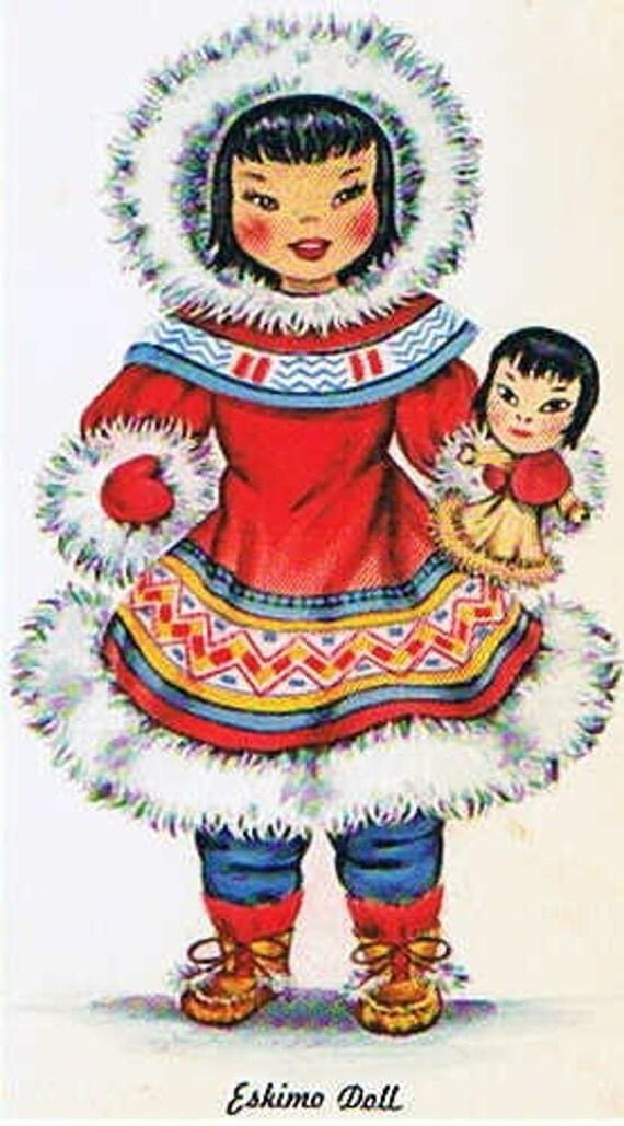 Doll Card - Eskimo Doll - Dolls of Many Lands - Vintage Postcard