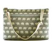 """15"""" Macbook or Laptop bag with zipper pocket and detachable shoulder strap -Gray Elephant -Ready to ship"""