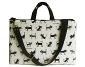 SALE-13inch Macbook or Laptop bag with handles and detachable shoulder strap- Cocoland of cat in white -Ready to ship