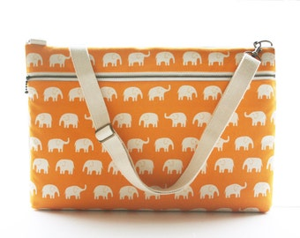 Laptop Bag with Shoulder strap and Zipper pocket-Orange Elephant-Ready to ship