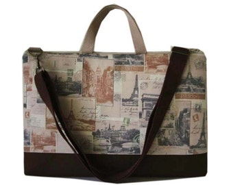 "15"" Macbook or Laptop bag with handles and detachable shoulder strap- Paris post-Ready to ship"
