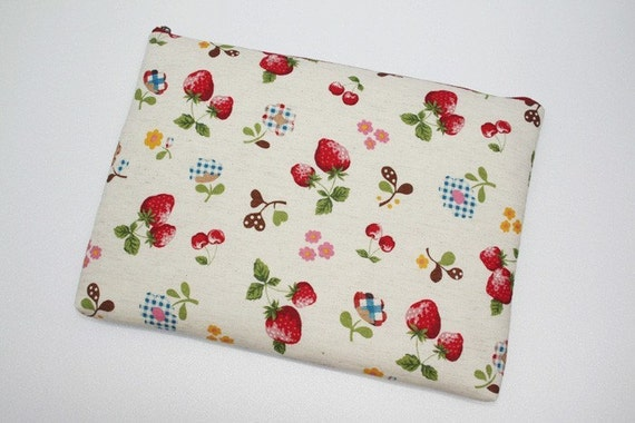 Laptop Sleeve For 13 inch Padded Cotton Macbook Case- Floral with  strawberry-Ready to ship
