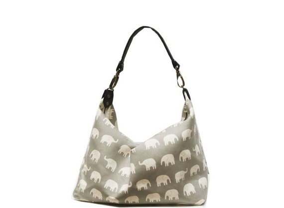 SALE- 2 way Hobo bag with leather strap and  adjustable cotton strap