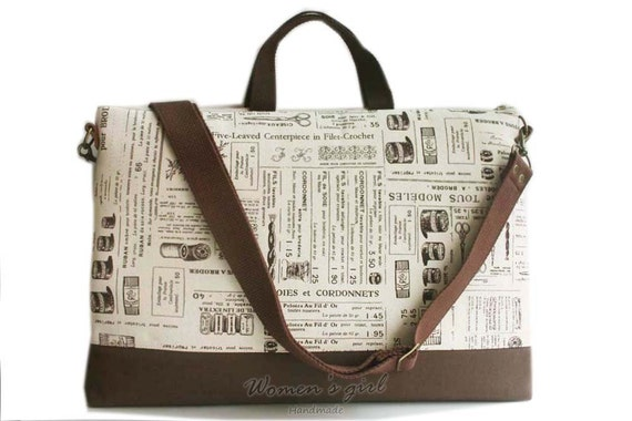 "15"" Macbook or Laptop bag with handles and detachable shoulder strap- Zakka news paper-Ready to ship"