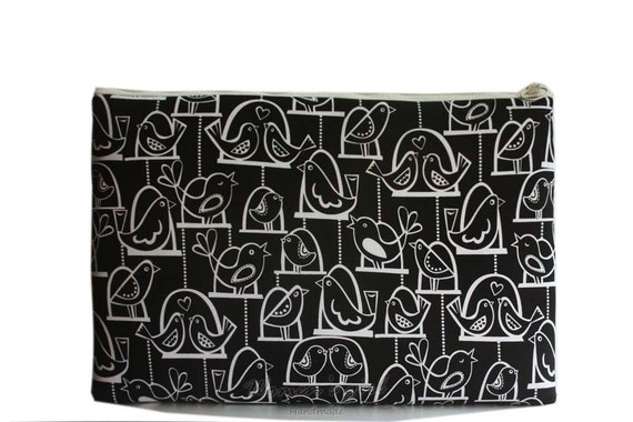 """SALE-15 """" Macbook or Laptop sleeve with zipper closure -Black with white- Ready to ship"""
