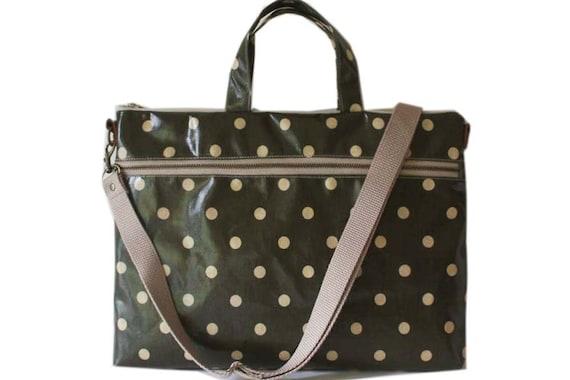 "13"" Macbook or Laptop bag with handles and detachable shoulder strap- Polka dots"