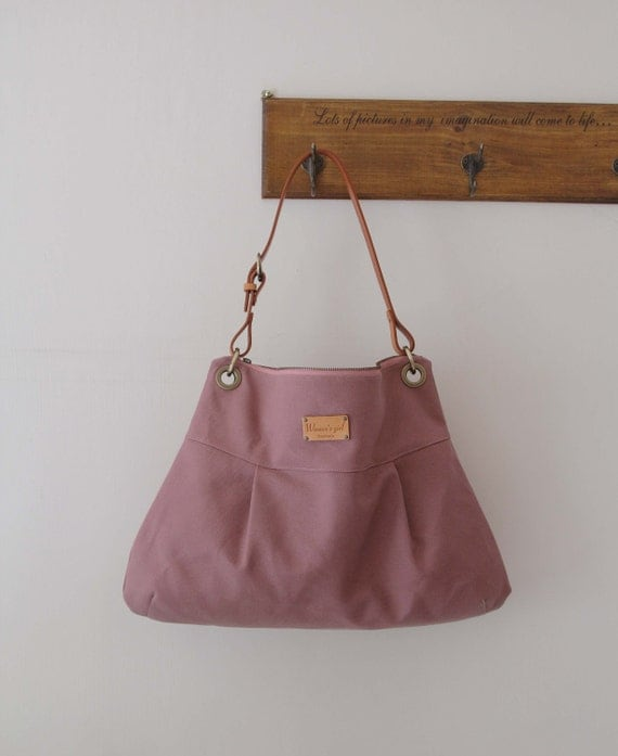 SALE-Shoulder  bag with cow leather strap - Pink