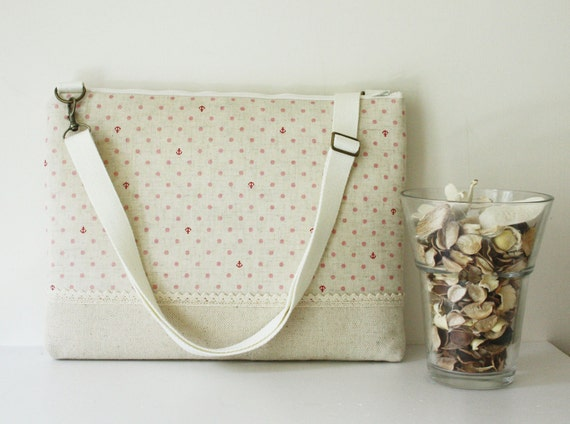 13 inch  Macbook or Laptop bag with  detachable shoulder strap and interior pocket-Lace- Ready to ship