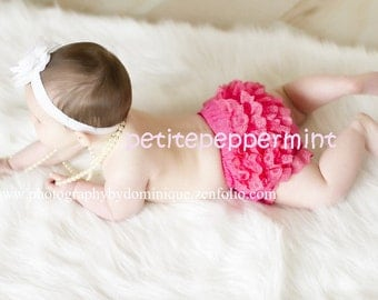 Hot Pink Ruffle Baby Bloomer Diaper Cover