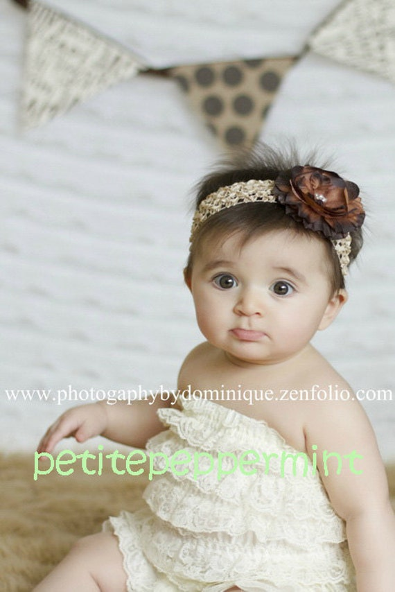Baby Headband - Baby Flower Headband - Brown Flower Headband