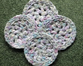 CROCHETED  COASTERS from  Repurposed Absorbent Cotton Sheeting
