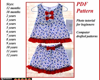 Angelina GIRLS SHORTS PATTERN + Free Mother-Daughter Apron Pattern, pdf Sewing Patterns for Children, Baby, Toddler, Tutorial, 5 Berries