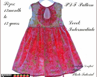 Eloise Girls DRESS PATTERN + Free Mother-Daughter Apron Pattern, PDF Sewing Patterns for Children, Baby, Toddler, E Book, 5 Berries