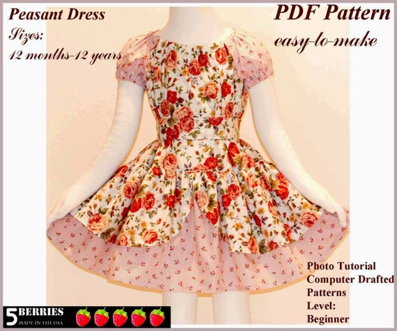 Alexandra PEASANT DRESS PATTERN + Free Mother-Daughter Apron Pattern, Children's Sewing Patterns, Girls Dress Patterns, Toddler, Tutorial