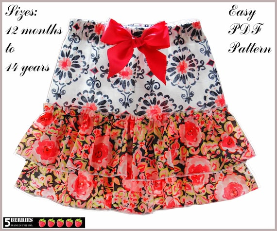 5 Berries Girls Skirt Pattern, Jessica Twirl Childrens SEWING PATTERNS, pdf, baby, toddler