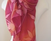 Autumn Impressions Variation hand painted crepe silk scarf
