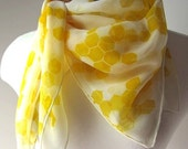 Soft Honeycomb - Sheer - Hand Painted Silk Scarf - Made to Order