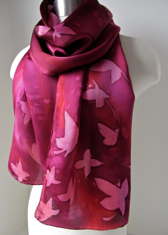 Silk scarf hand painted - Butterflies in flight - Made to order