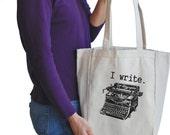 i write canvas tote bag