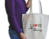 I love Mr. Darcy canvas tote bag
