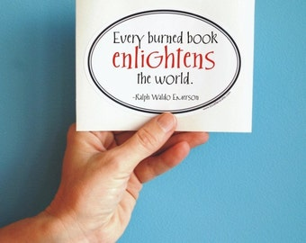 a burned book Ralph Waldo Emerson sticker