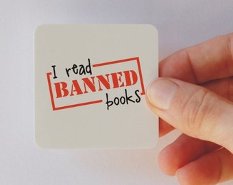 i read banned books square magnet