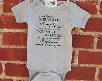 Mr. Darcy's Proposal to Elizabeth, baby bodysuit