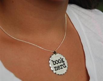 book nerd rhodium pendant necklace