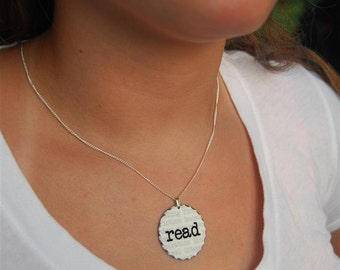 read rhodium pendant necklace