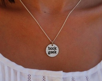 book geek charm necklace