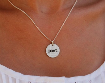 poet charm necklace