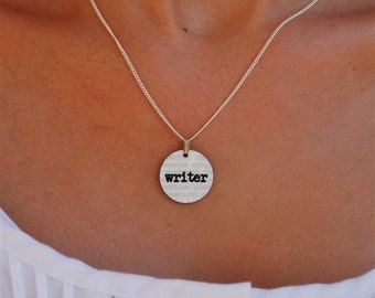 writer charm necklace