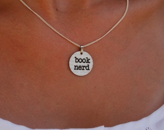 book nerd charm necklace