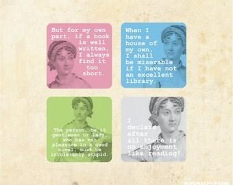Jane Austen on books magnet set