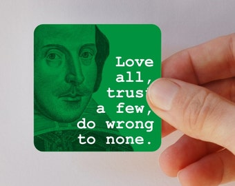 SHAKESPEARE love all square magnet