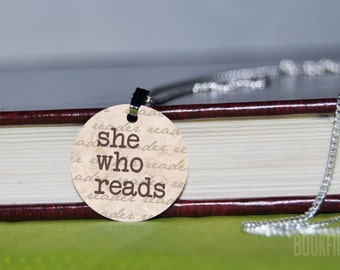 she who reads charm necklace