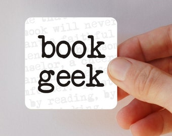 book geek square magnet