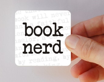 book nerd square magnet