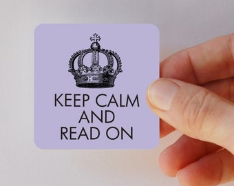 keep calm and read on square magnet
