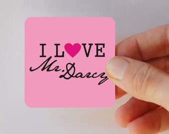 I love Mr. Darcy square magnet