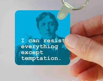Oscar Wilde tempation keychain
