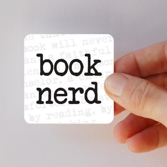book nerd square magnet
