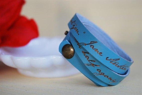 You pierce my soul --- engraved leather wrap bracelet