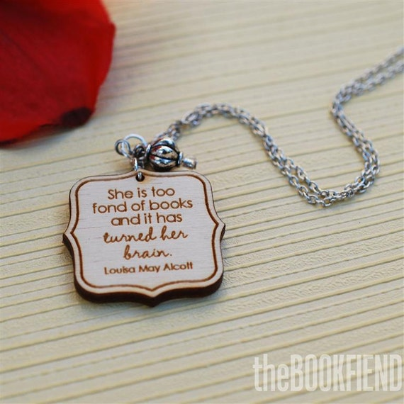 She is too fond of books necklace